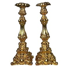 Pair Antique French 19th Century Gilded Gilt Metal Candlesticks