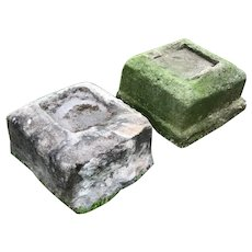 Architectural 18th Century Antique Primitive Carved Stone Garden Display Plinths