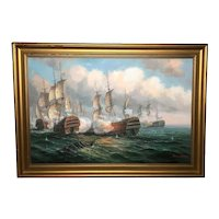 Marine Oil Painting Naval War Battle of Trafalgar Listed James Hardy