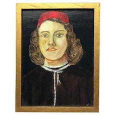 Fine Art 20th Century Religious Oil Painting Portrait Roman Catholic Junior Cardinal