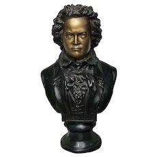 Vintage 20th Century Bronze Composer Ludwig Van Beethoven Display Bust