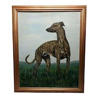 Fine 20th Century Original Wall Art Oil Painting Greyhound Animal Dog Portrait