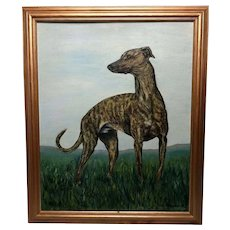 Fine 20th Century Original Wall Art Oil Painting Greyhound Animal Dog Portrait