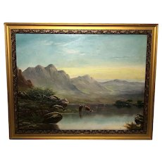 Antique 19th Century Oil Painting Scottish Highlands Loch Cattle Landscape