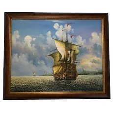 American School Marine Oil Painting Spanish Ship Cape Cod Frederick Daniels