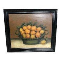 20th Century Oil Painting Basket Of Oranges & Lemons