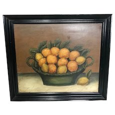 20th Century Oil Painting Basket Of Oranges & Lemons