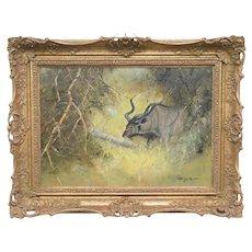 Fine Art 20th Century Original Oil Painting Kudu Antelope Wild Animal Bush South Africa