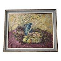 Dutch School 20th Century Oil Painting Impressionism Still Life Basket Fruit