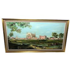 Fine Oil Painting Eton College Chapel View By The Thames Landscape