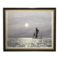 English Seascape Oil Painting Circa 1970's Sailing Yacht Illuminated Moonlight