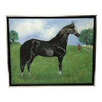 20th Century Impressionist Oil Painting Prized Equestrian Black Horse Portrait