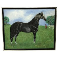20th Century Impressionist Oil Painting Prized Equestrian Black Horse Portrait