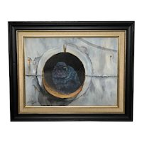 Original English Oil Painting Pigeon Portrait Circa 1990 Signed John Lawer