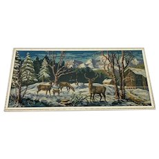 Large Decorative 1970's Tapestry Winter Switzerland Forest Mountains Deers Landscape