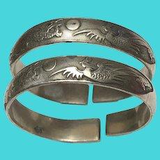 Pair 20th Century Chinese Silver Plate Jewellery Bracelet Dragon Phoenix Bangles