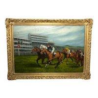 Fine Art English 20th Century Oil Painting Lester Piggott Epsom Derby Horse Racing