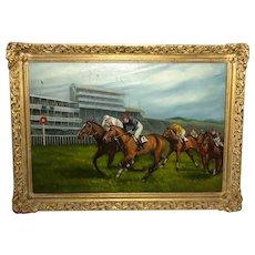 Fine Art English School 20th Century Oil Painting Lester Piggott Epsom Derby Horse Racing