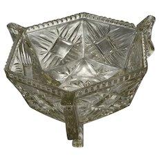 Fine Vintage French 20th Century Geometric Glass Fruit Bowl