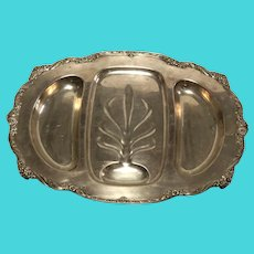 Fine Large English Silver Plate Acanthus Repousse Meat Salver