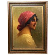 Antique Victorian Italian Oil Painting Gypsy Girl Wearing Earring Portrait