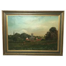 English Victorian 19th Century Pastoral Oil Painting Leicestershire Lockington Cattle & Sheep