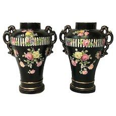 Pair 20th Century French Porcelain Flourishing Rose Flower Vases