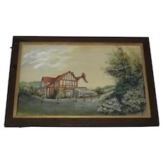 Impressionist 20th Century Watercolour Painting Surrey Summer Home & Garden