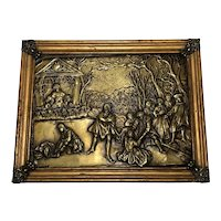 Antique Early 20th Century Brass Medieval Pictorial Scene Wall Plaque Sculpture Signed Hiver