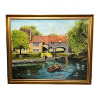 English 20th Century Oil Painting Children Rowing Pulls Ferry Norwich Landscape