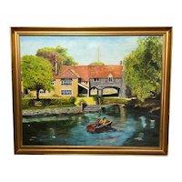 Vintage 20th Century Original Wall Art Oil Painting Children Rowing Pulls Ferry Norwich Landscape