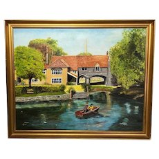 Vintage 20th Century Original Wall Art Oil Painting Children Rowing Pulls Ferry Norwich Landscape