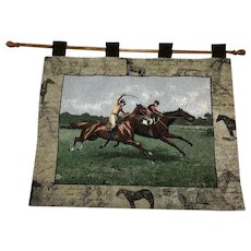 20th Century Scottish Wall Tapestry Horse Trainers Racing Glenrothes Signed