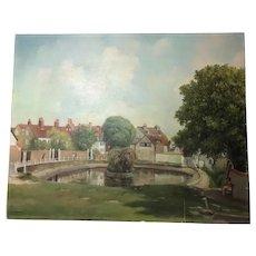 Oil Painting 1960's Kent Landscape Peaceful Pretty Village Park Scene Signed
