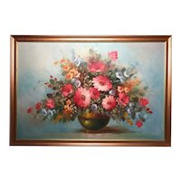 Fine 20th Century Oil Painting Bouquet Flowers Carnations Still Life Signed Robert Cox