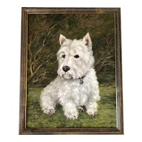 Oil Painting Portrait Scottish Highland Westie White Terrier Dog