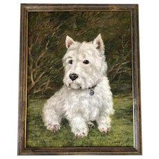 Oil Painting Portrait Scottish Highland Westie White Terrier Dog