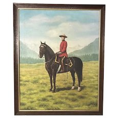 Oil Painting Royal Canadian Mountie Horseback Alberta Prairies