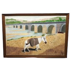 Naive Oil Painting Circa 1968 Donkey Southern France Signed Philip Frossard