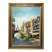 English Impressionist Oil Painting Chester Eastgate Street Clock Circa 1973