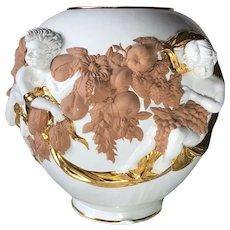 Vintage Italian 1970's Large White & Gold Porcelain Terracotta Cherub Vase