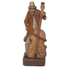 Fine 20th Century Vintage Black Forest Carved Sculpture Gentleman Playing Cello
