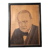 Original Winston Churchill Portrait Marquetry Mosaic Framed Sculpture 1950's