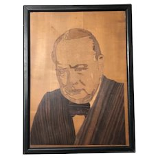 Original Winston Churchill Portrait Marquetry Mosaic Framed Sculpture 1950's