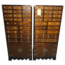 Pair Chinese Vintage 1970's Medicine Hardwood Apothecary Chest Drawer Cabinets