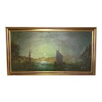 Large Dutch School Impressionist Marine Oil Painting Sailing Ships By Moonlight