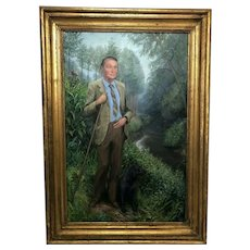 English Portrait Oil Canvas Painting Shropshire Titled Gentleman Circa 1979