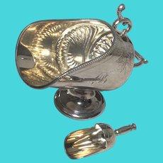 English Sheffield Silver Plate Sugar Basin With Scoop Tableware