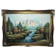 Large Oil Painting Swiss Alps River Lutschine Rapids Mountains Signed Baxter