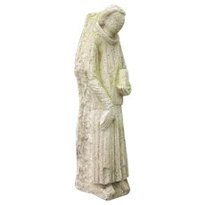 Medieval 16th Century Antique Carved Limestone Religious Monk Garden Sculpture